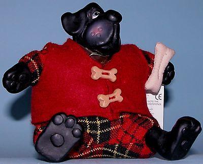Russ Berrie Kathleen Kelly Dog Yappa  2618 Christmas  Fabric  Resin  Poly Beads
