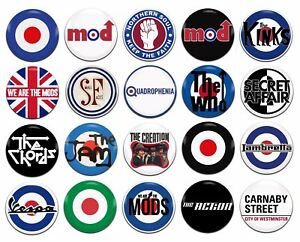 20x Mod Various 25mm / 1 Inch D Pin Button Badges