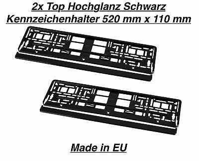 2x Premium Kennzeichenhalter Hochglanz Schwarz 520 mm 110 mm 52 cm 11 cm