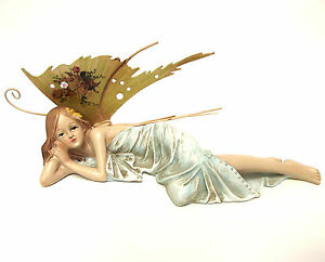 Fairy Ornament Figurine Statue Garden Laying Resting Ornate Wings Green