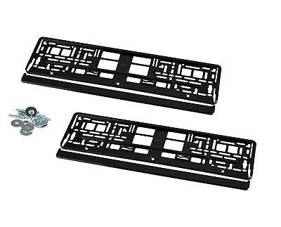 2 Kennzeichenhalter Nummernschildhalter Hochglanz Schwarz für Mercedes SL KHP_1
