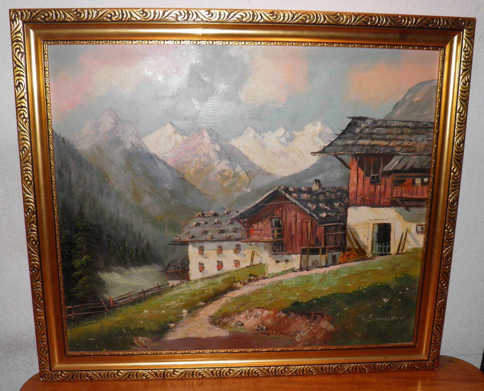 Chalet Mountain Painting Theophile Schneider List German American Artist 23x27  - $1,128.84