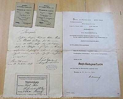 Eisenbahner Unterlagen von 1920 mit verschiedenen Dokumenten