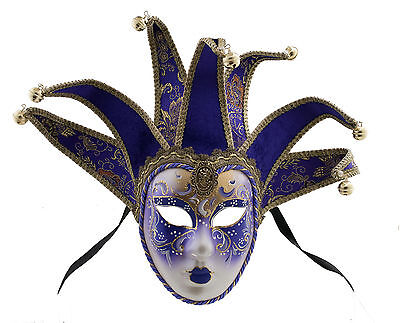 Mask from Venice Volto Jolly Purple and Golden 7 Spikes for Prom Costume 753 V46