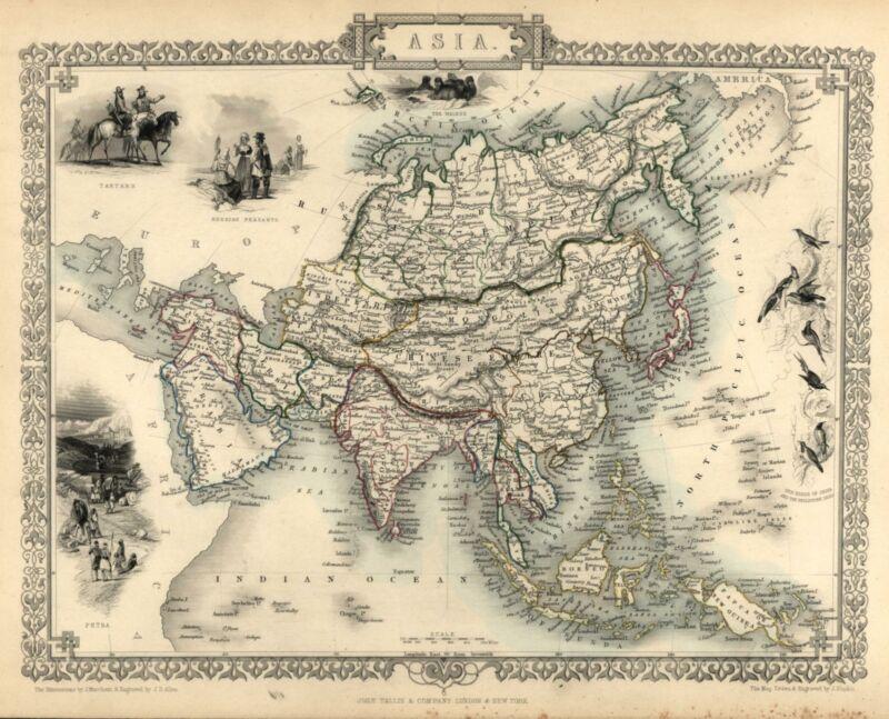 Asian Continent Arabia to Japan China India Tallis 1851 decorative vignette map