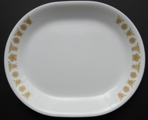 """Vintage Corelle by Corning Butterfly Gold 12.25"""" x 10"""" Oval Serving Platter"""
