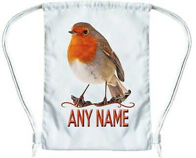 ROBIN BAG Personalised Gym Bag for Boys or Girls Drawstring Gymsac PE Book Bag
