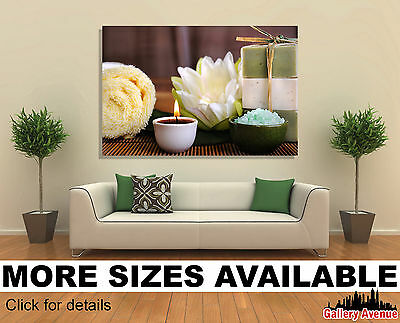 - Wall Art Canvas Picture Print - Spa Wellness Health Flower Candle 3.2