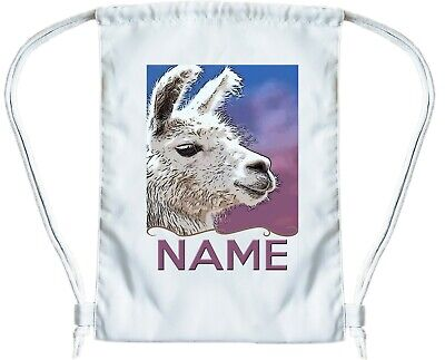 LLAMA BAG Personalised Gym Bag for Boys  Girls Drawstring Gymsac PE Book Bag