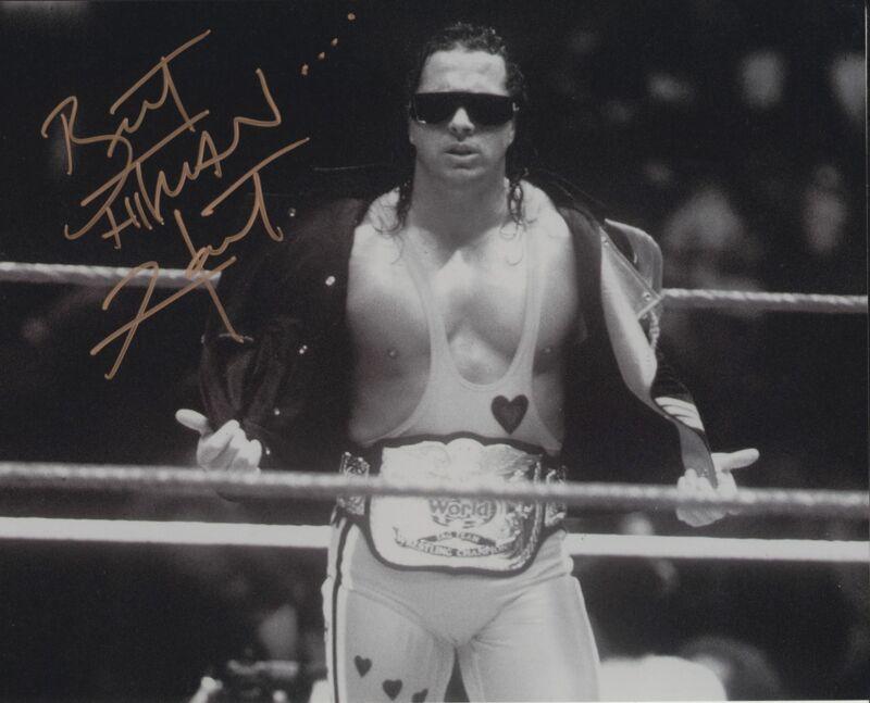 BRET THE HITMAN HART SIGNED WWE WWF 8X10 PHOTO 15