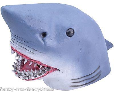 Herren Damen Shark Gummi Gesichtsmaske Tier Halloween Kostüm - Shark Damen Kleid Kostüme