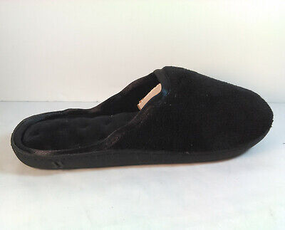 NEW Isotoner Womens 7.5 8 Black Clog Slippers Microterry Memory Foam satin trim