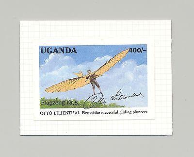 Uganda #976 Glider, Aviation 1v Imperf Proof on Card