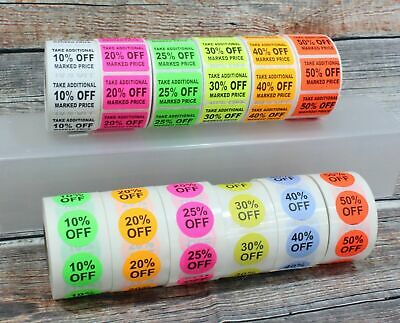 Percent Off Adhesive Sale Markdown Labels Off Stickers 500 Labelroll 10 To 50