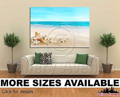 Wall Art Canvas Picture Print - Landscape shells starfish tropical beach 3.2 - Starfish Wall Art