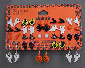 Set-20-pairs-pendientes-Claire-s-Halloween-Funny-witch-Ghost-Skull-Crow-pumpkin