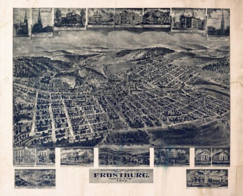 1905 FROSTBURG MARYLAND ALLEGANY panoramic map GENEALOGY poster md6