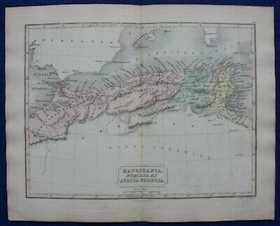 ANCIENT NORTH AFRICA, MAURITANIA, CARTHAGE, original antique map, Butler 1851