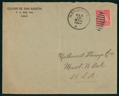 Philippines Colegio De San Agustin 1920 Cover to US Minot ND