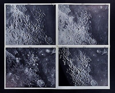 1960 Photographic Lunar Moon Map - 4 Photo Set - Field Taurus B3 Craters Surface
