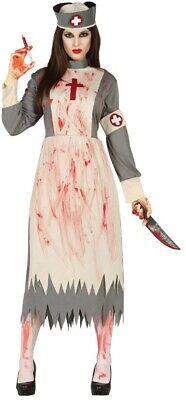 Ladies Zombie Victorian Nurse Costume Ghost Womens Halloween Fancy Dress Outfit ()