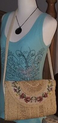 Vintage Hand Woven Straw MARKET FLAP Cross~Stitch Needlepoint Shoulder Bag