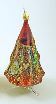 - NEW MURANO MILLEFIORI RED GOLD CHRISTMAS TREE ITALIAN ART GLASS OF VENICE ITALY