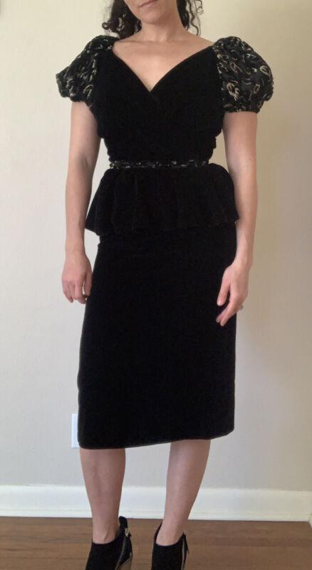 Vintage Black Velvet Dress With Leopard Puff Sleeves Small Deadstock