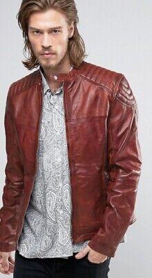 Goosecraft Leather Biker Jacket in Red - Mens Size Medium