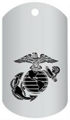 MARINE CORPS EGA LOGO  LASER ETCHED SILVER REGULATION DOG TAG WITH CHAIN Marine Corps Logo Dog Tag