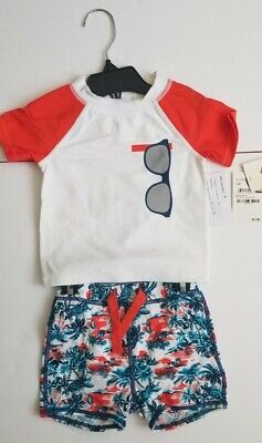 Tucker + Tate Two Piece Rashguard Swimsuit Sunglass print Baby Boys Size 12M (Baby Sunglasses India)