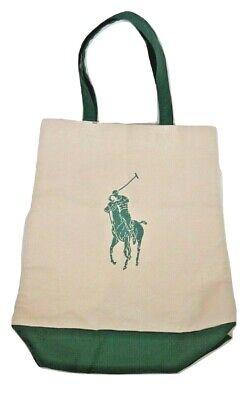 Polo Ralph Lauren BEACH Canvas Big Pony Zip Tote Bag One size, GREEN Ralph Lauren Beach Tote