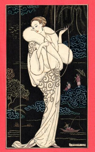 GEORGE BARBIER 1913 s ANTIQUE ORIGINAL PICTURE ART NOUVEAU WOMAN 568