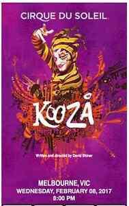 Cirque du Soleil Kooza tickets (x2), Melbourne Dynnyrne Hobart City Preview