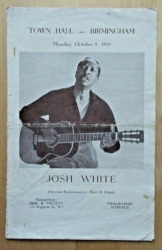 Josh White concert programme Birmingham Town Hall 8th October 1951