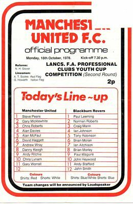 MANCHESTER UNITED YOUTH v BLACKBURN ROVERS 16/10/78 LANCS FA YOUTH CUP PROGRAMME