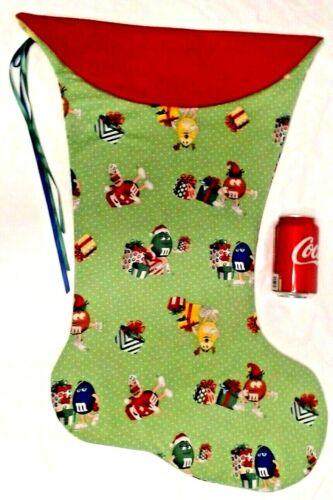 GIANT CHRISTMAS STOCKING M&M CHARACTERS CHRISTMAS PRINT HANDMADE & NEW
