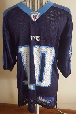 NFL Player #10 Vince Young Reebok Authentic NFL Blue Tennessee Titans Jersey Sm