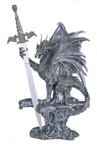 15 INCH SILVER DRAGON AND SWORD ON ROCKY PEDESTAL FIGURINE