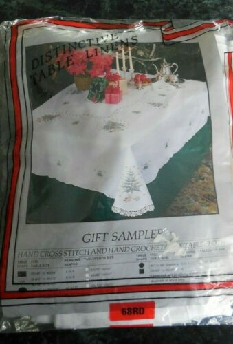 "NEW Christmas Cross Stitch & Crochet Lace Tablecloth 68"" Round + 8 Napkins NWT"