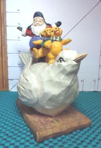 Christmas Dove Figurine With Santa & 2 Bears, Resin, Collectible