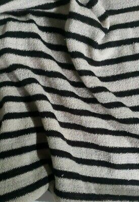 CREAM MELANGE AND BLACK STRIPED KNIT SWEATER  FABRIC-SOLD BY THE METER