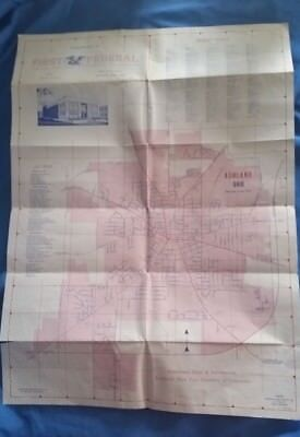 Map City Street Road ASHLAND OHIO 1979 First Federal Savings & Loan Vintage