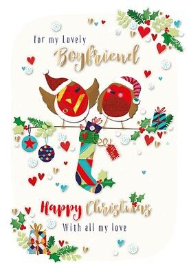 For My Lovely Boyfriend Embellished Christmas Greeting Card Special Xmas Cards ()