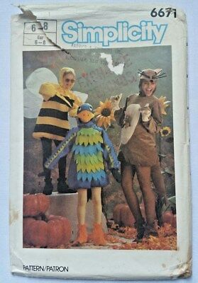 Simplicity Sewing Pattern Halloween Costume 6671 Bird Kangaroo Bee Child 6 - 8](Kangaroo Halloween Costume Pattern)