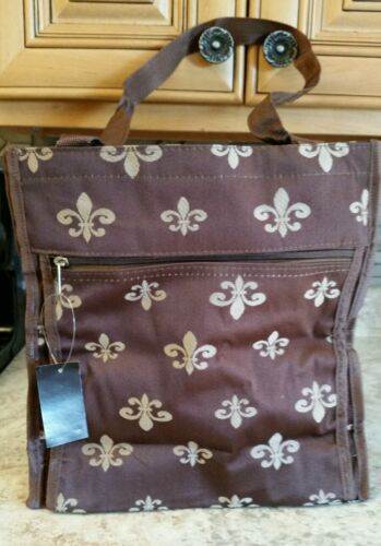 World Traveler Brown Tan Fleur de Lis Travel Tote Bag 12-inc