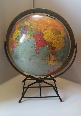 "Vintage Mid Century Atomic Green Globe 10"" Replogle World Globe Earth Wire Base"