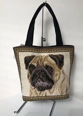 - Heirloom Needlepoint Collection PUG Needlepoint Small Tote Handbag
