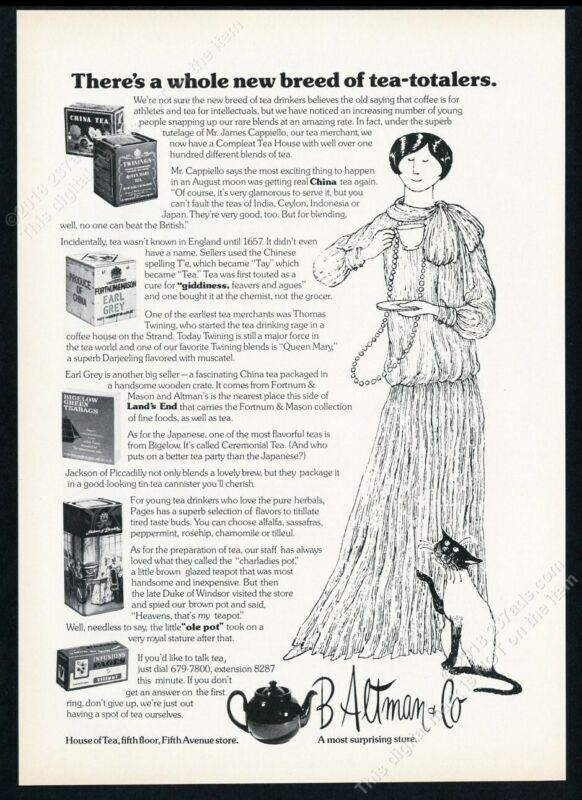 1974 Edward Gorey Siamese cat & woman art B Altman NYC vintage print ad