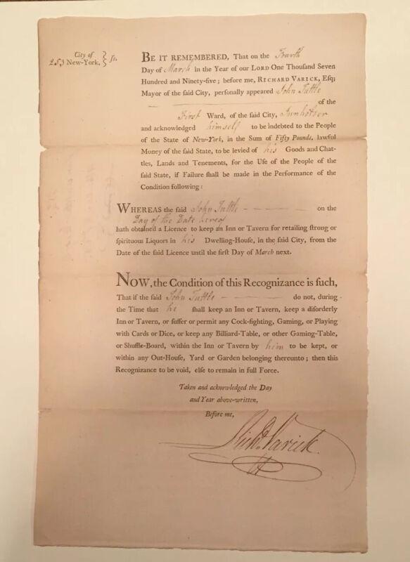 REVOLUTIONATY WAR HERO. - NYC MAYOR  R. VARICK 1795 LICENSE SIGNED